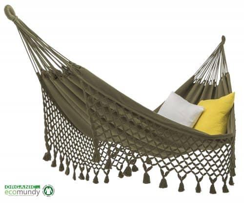 hangmat met franje | groen | BIO katoen (GOTS) | ecomundy romance XL 380