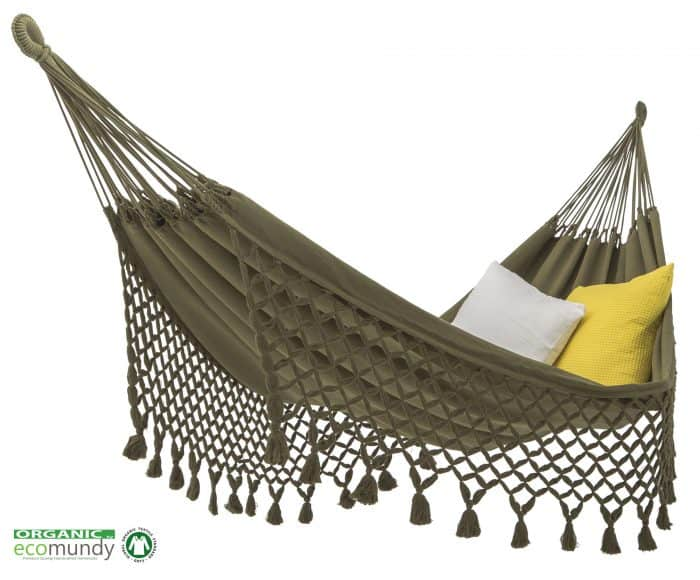 hangmat met franje | groen | BIO katoen (GOTS) | ecomundy romance XL 380 - HANGMATTEN-WEBSHOP.NL