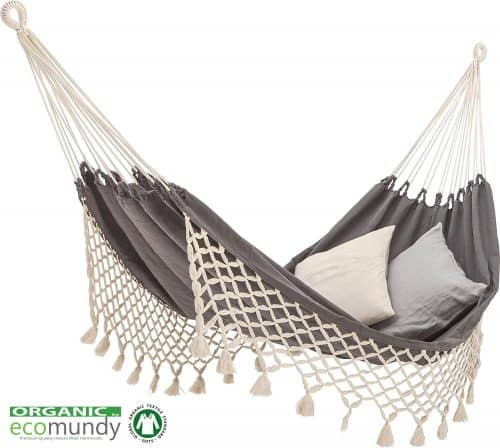 Luxe hangmat - handgemaakt - biologisch katoen - GOTS - Ecomundy Romance XL antraciet grijs / ecru