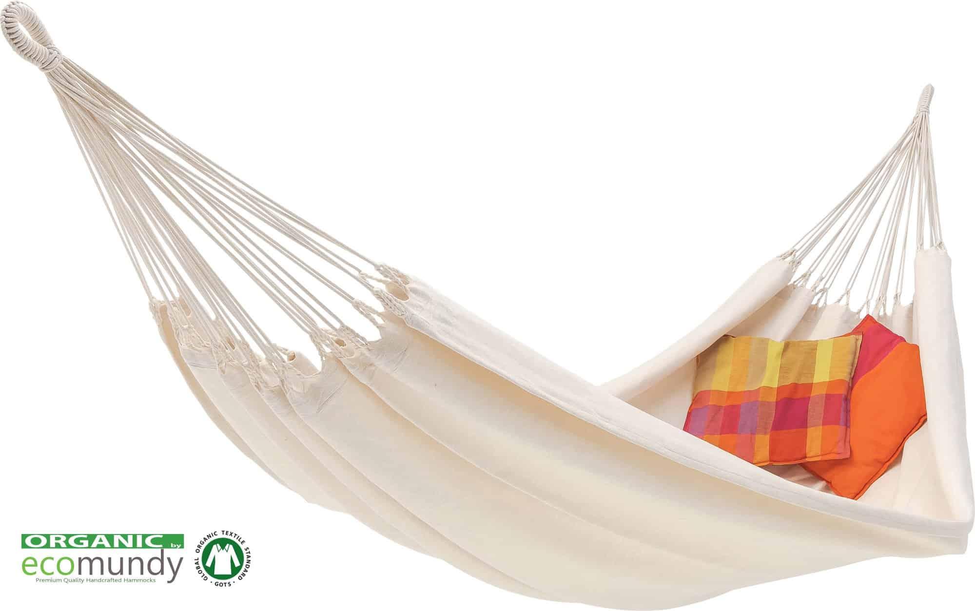 Luxe 2persoons hangmat naturel biologisch katoen GOTS Ecomundy Pure XL wit
