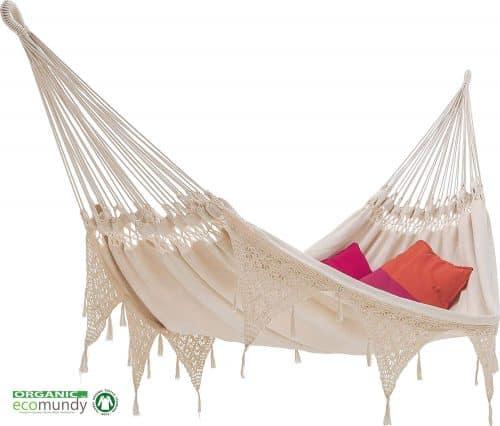 hangmat met franje | boho stijl | naturel BIO katoen | ecomundy ibiza XL 380