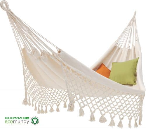 hangmat met franje | 2-persoons | naturel wit | BIO katoen (GOTS) | Ecomundy Romance XL 380