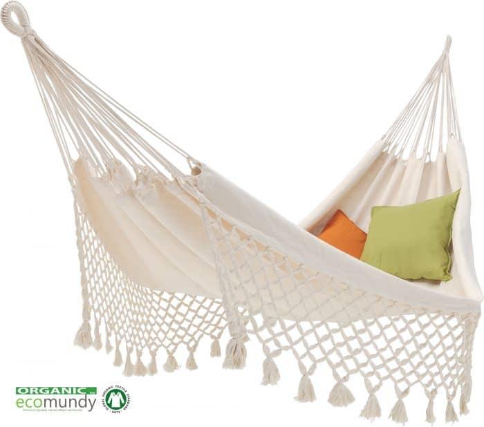 luxe hangmat met franje wit biologisch katoen ecomundy romance natural