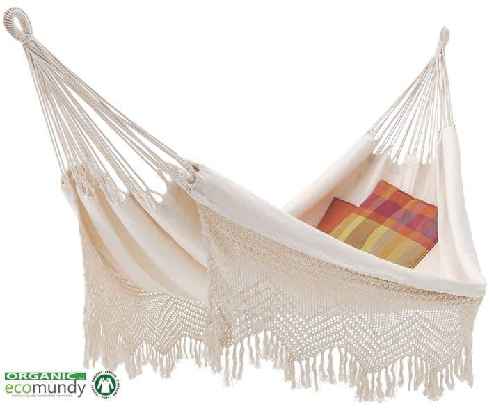 hangmat met franje   2-persoons   naturel wit BIO katoen   ecomundy elegance XL 380 - HANGMATTEN-WEBSHOP.NL