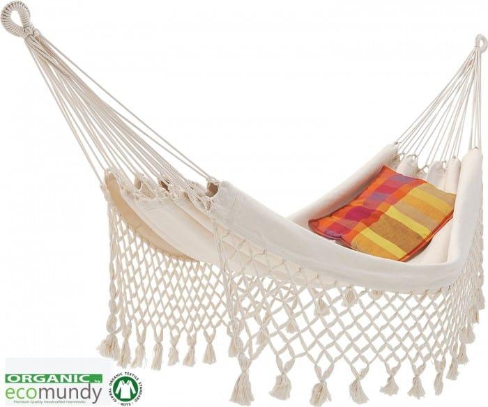 Luxe witte hangmat met franje naturel BIO katoen - GOTS | Ecomundy Romance L 320 - HANGMATTEN-WEBSHOP.NL