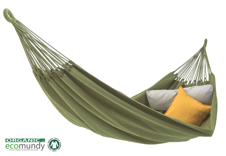 luxe hangmat effen groen bio katoen handgeweven GOTS Ecomundy Pure