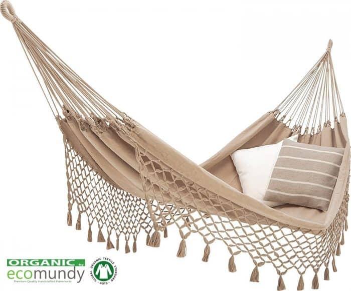 luxe hangmat met franje beige biologisch katoen handgeweven gots eco ecomundy