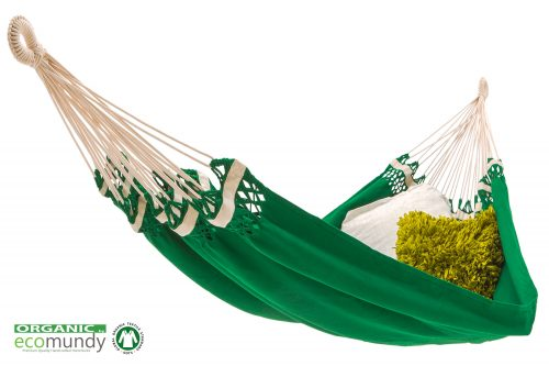 hangmat-luxe-bio-katoen-XL-effen-groen-ecomundy