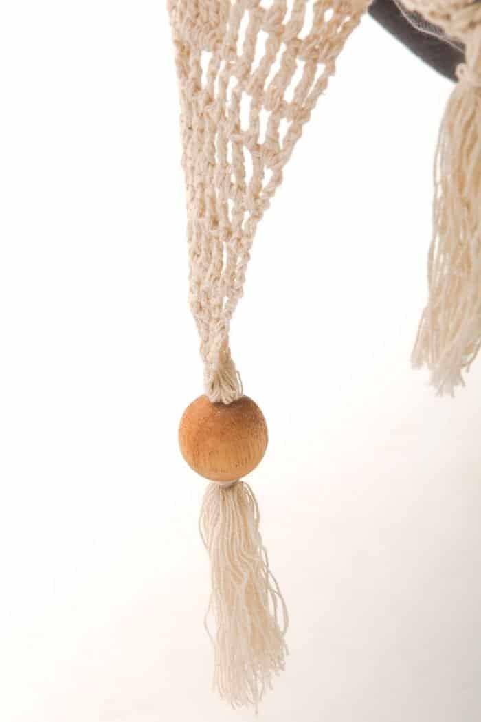 luxe hangstoel met franje | boho stijl | antraciet grijs - BIO katoen | ecomundy ibiza chair - HANGMATTEN-WEBSHOP.NL