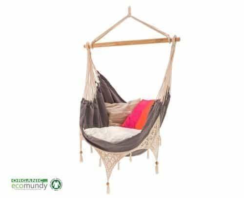 luxe hangstoel met franje | boho stijl | antraciet grijs – BIO katoen | ecomundy ibiza chair