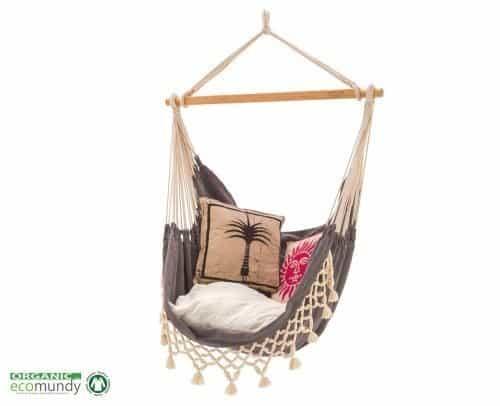 luxe hangstoel met franje | antraciet grijs – BIO katoen | ecomundy romance chair