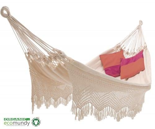 luxe hangmat met gehaakte franje naturel bio katoen duurzaam handgeweven - ecomundy elegance