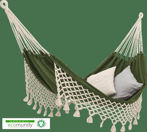 groene hangmat met ecru franje | BIO katoen | GOTS | ecomundy romance XL 360